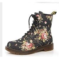 JUWOJIA Mujer Botas Martin Zapatos De Flores De