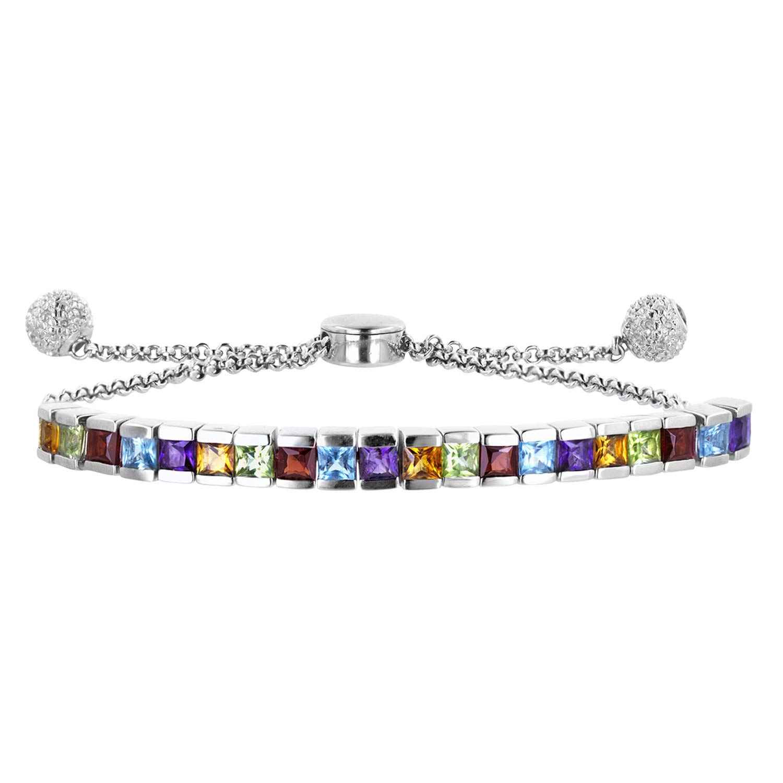 Robert Manse Designs Gem RoManse Adjustable Channel Set Gemstone Bracelet (Multi) by Robert Manse Designs