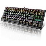 E T Easytao Teclado Mecanico Gamer, RGB Teclado Mecánico Gaming LED Rainbow con Switch Azul, con 8 Efectos Iluminación RGB, 8