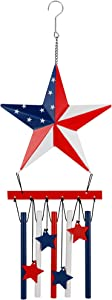 Optimisland Patriotic Giant Star Wind Chimes, American Flag Design for Independence Day Décor, Hanging Wind Bells for Indoor Office Bedroom Outdoor Patio Garden