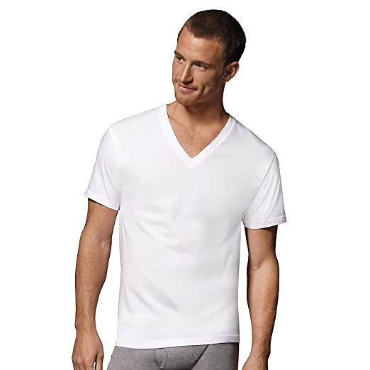 3f2c3e9c Image Unavailable. Image not available for. Color: Hanes Men's ComfortSoft Tagless  V-Neck T-Shirt (6 Pack),White