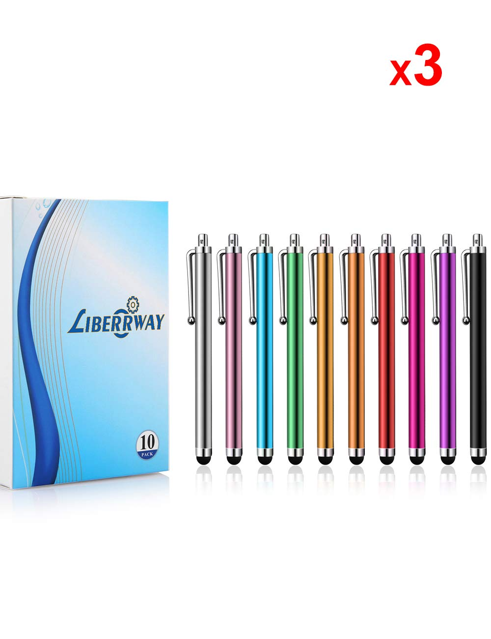 LIBERRWAY Stylus Pen 30 Pack of Pink Purple Black Green Silver Stylus Universal Touch Screen