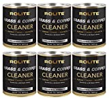 Rolite Brass & Copper Cleaner (2lb) Instant Cleaning & Tarnish Removal on Railings, Elevators, Fixtures, Hotels, Cruise Ships, Buildings 6 Pack