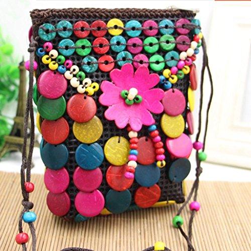MOXIN Damen gewebte Tasche - Kokosnuss Shell Brieftasche Freizeit Schultertasche