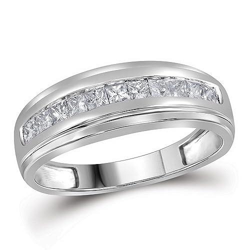 Anillo de boda de oro blanco de 10 quilates para hombre con diamante de princesa de