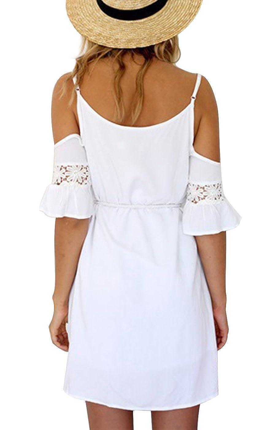 f4046396867e3 Summer Mae Robe Blanche Courte Evasée avec Epaules Dénudées pour Femme   Amazon.fr  Vêtements et accessoires