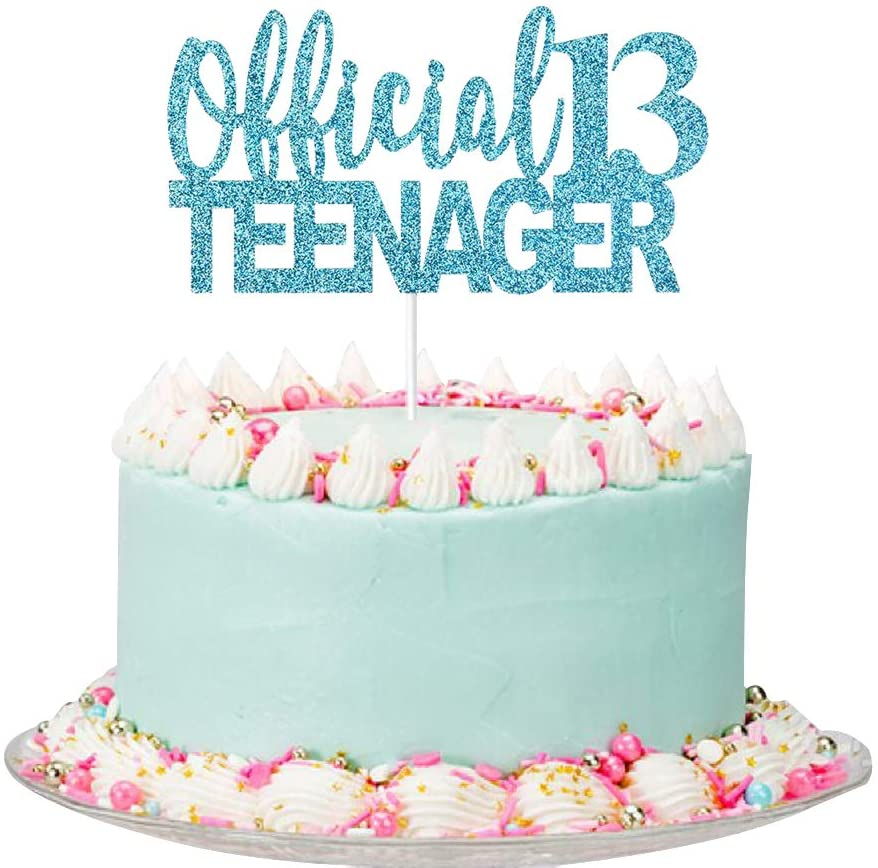 Amazon Com Blue Giltter Official Teenager 13 Cake Topper 13th Birthday Party Decorations For Teens 13th Birthday Cake Decorations Toys Games