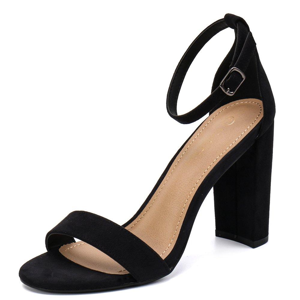 Moda Chics Women's High Chunky Block Heel Pump Dress Sandals Black MF 6.5 D(M) US