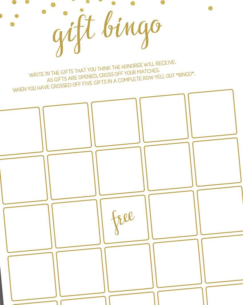 Gift Bingo - Game - Gold Confetti (50-sheets) by All-Ewired-Up