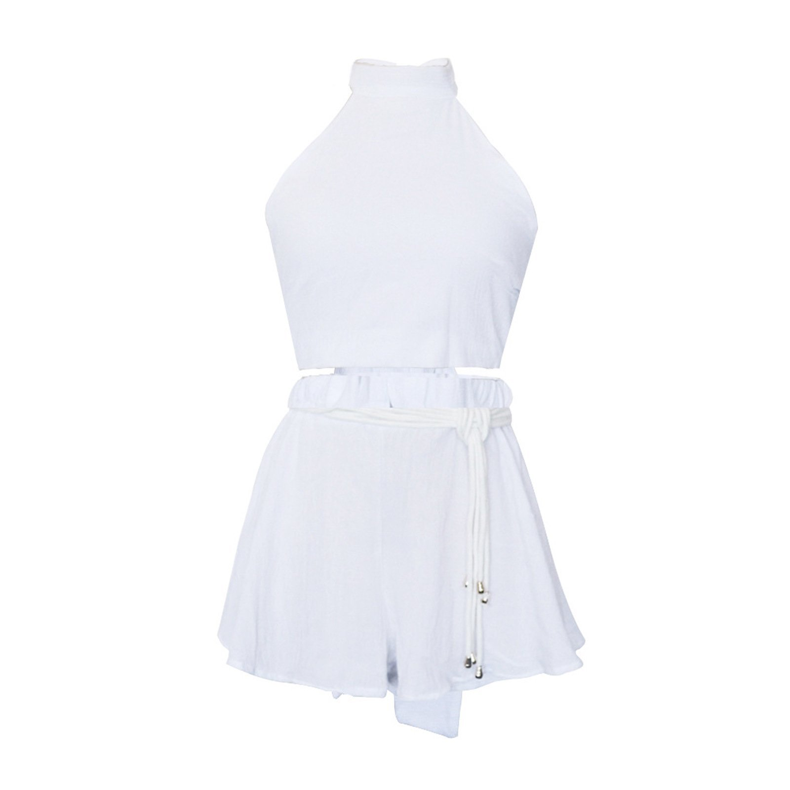 WSLCN Playsuits Backless Collar Halter Jumpsuit Casual Shorts Holiday Dress Beachwear White X-Large