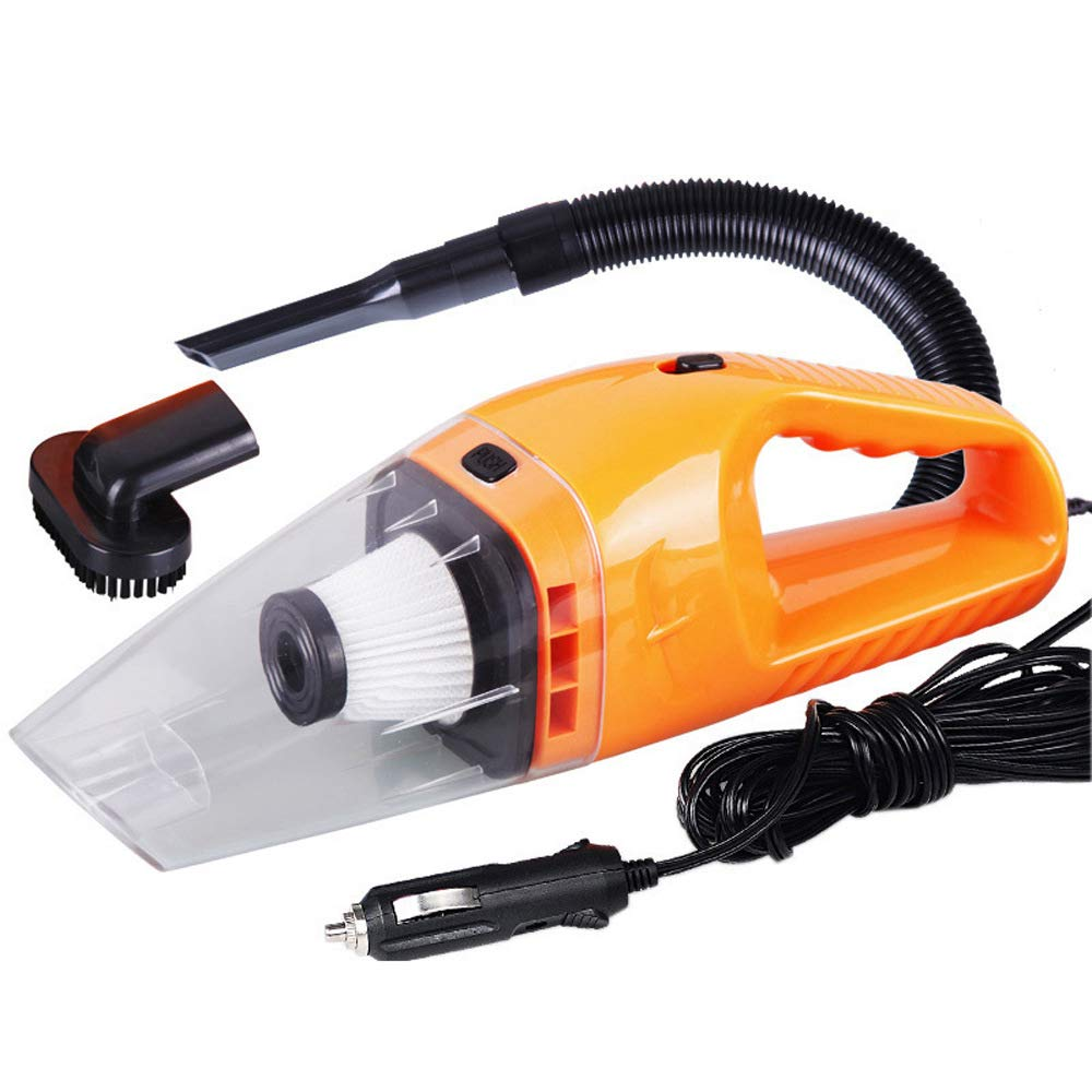 XL auto parts Yellow Handheld Vacuum for Home Pet Hair Car Cleaning 12V 120W High Power Suction Wet Dry Vacuum Cleaner with 2 Washable HEPA Filters