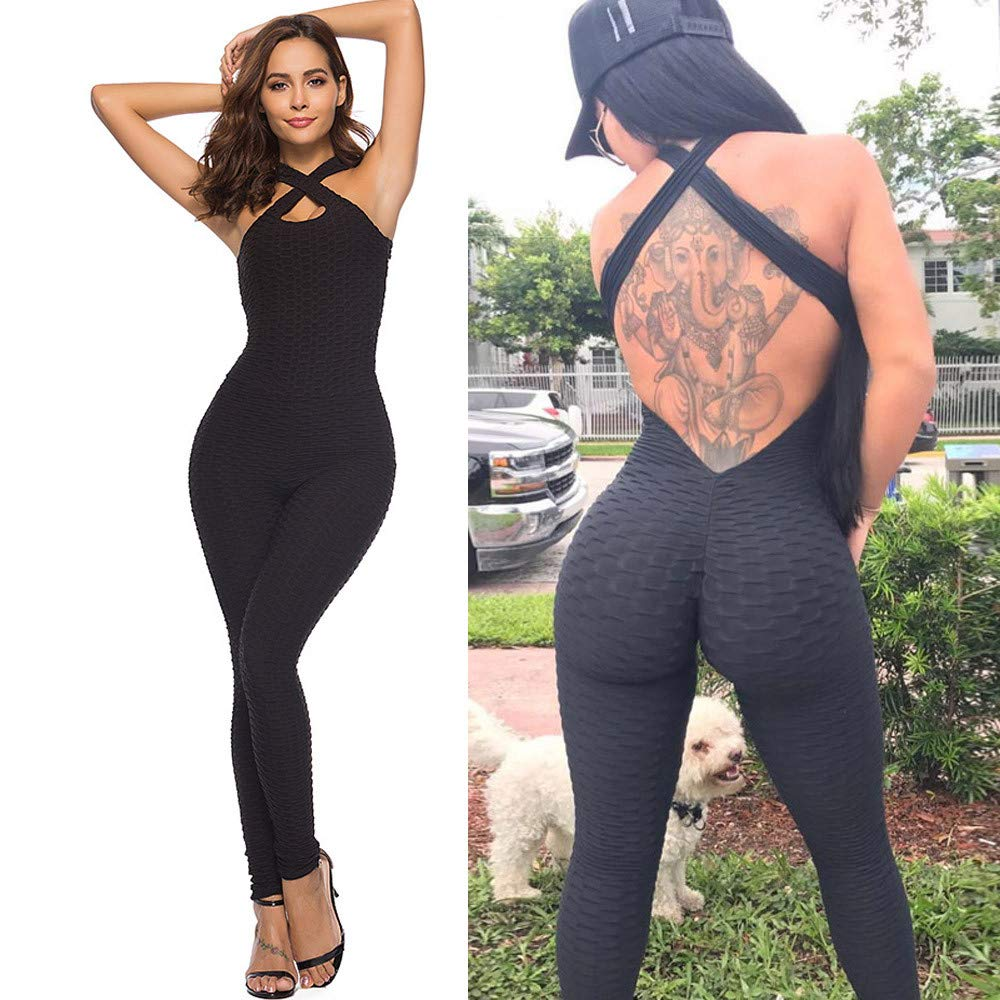 5ef1245cd940 Womens High Waist Ruched Butt Lift Yoga Pants Jumpsuit Workout Leggings  Fitness sport Gym Yoga tights  Amazon.co.uk  Clothing