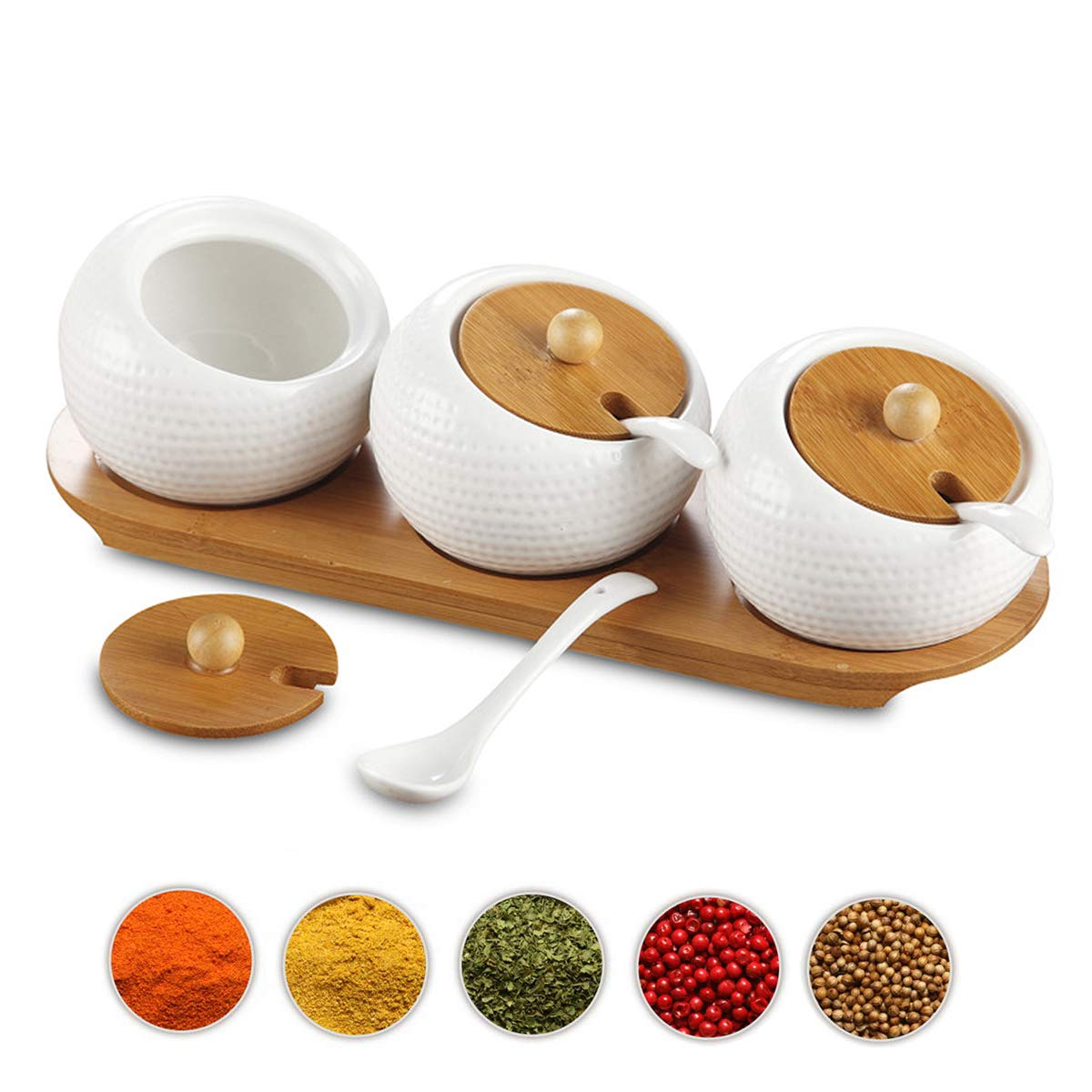5.8 OZ Vencer Set of 3 Ceramic Sugar Bowls with Bamboo Lids and Spoons,Wooden Tray Condiment Pots for Your Kitchen 170 ML
