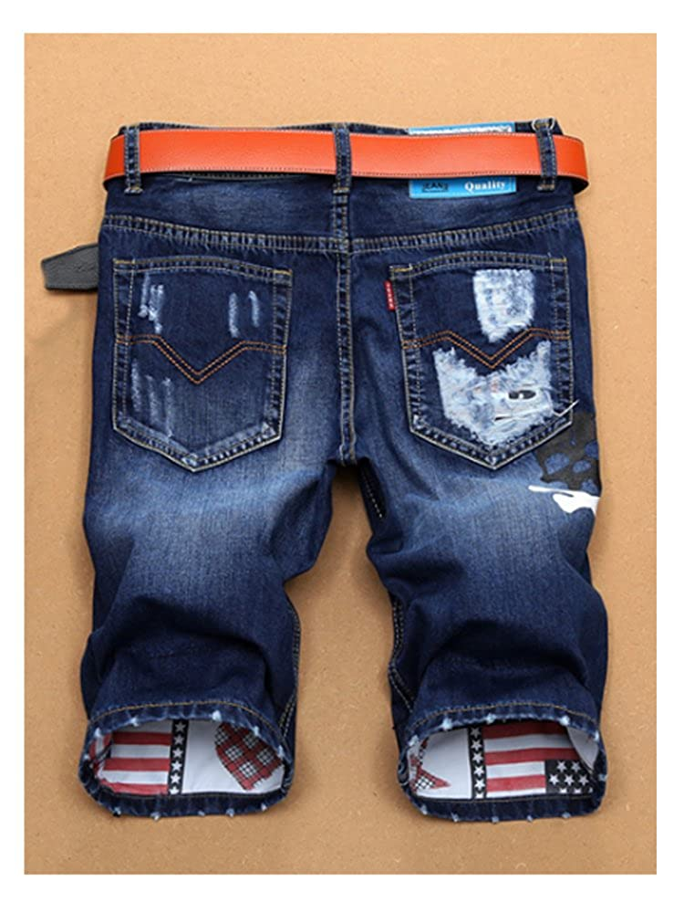 SOIXANTE Mens Classic Casual Summer Denim Shorts Ripped Distressed Straight Fit Denim Shorts