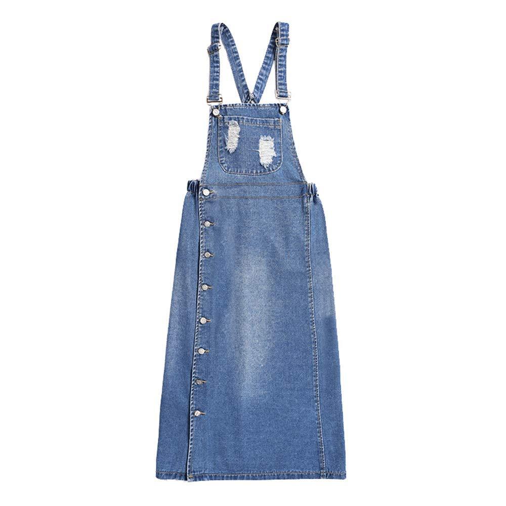 133789fe57 Sobrisah Women Girls Long Suspender Skirt Denim Dungarees Dress Pinafore  with White Tee Shirt: Amazon.co.uk: Clothing