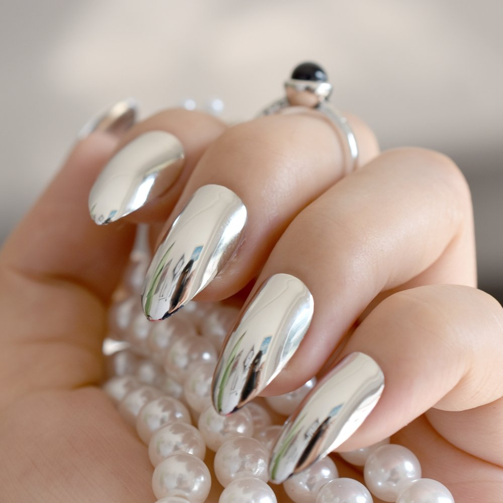 Amazon.com : CoolNail Metallic Mirror Stilettos Sharp False Nail Metal Silver Fake Nails Acrylic Artificial Stiletto Nail Art Full Cover : Beauty