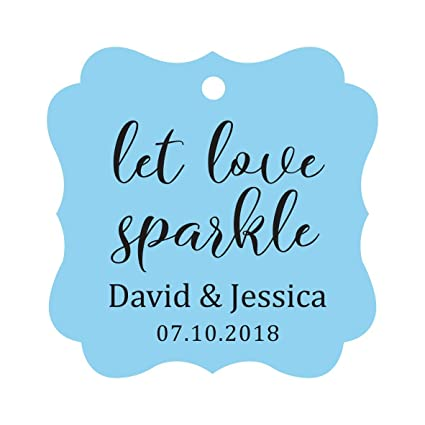 15aa6d42c181 Darling Souvenir Personalized Fancy Frame Paper Tags Wedding Sparklers Let  Love Sparkle Custom Hang Tags-Baby Blue-100 Tags