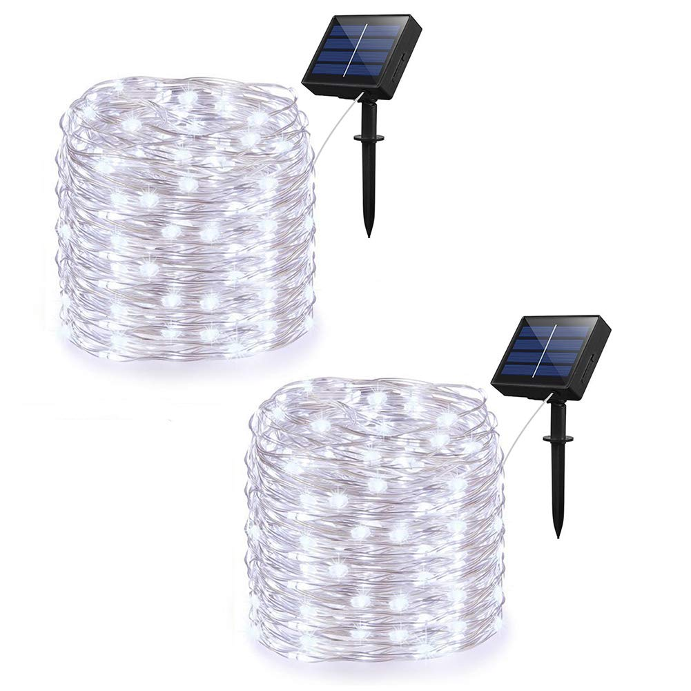 Adecorty Solar String Lights Outdoor String Lights 2 Pack 200 LED 66ft 8 Modes Starry String Lights Indoor/Outdoor Waterproof Solar Decoration Lights for Garden Home Party Bedroom Decor (Cool White)