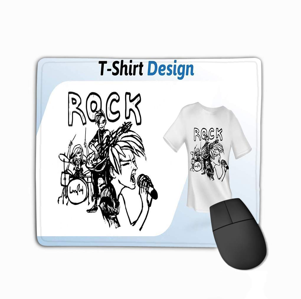 Mouse Pad Rock Band Stage Hand Drawn Print Black White Mock ...