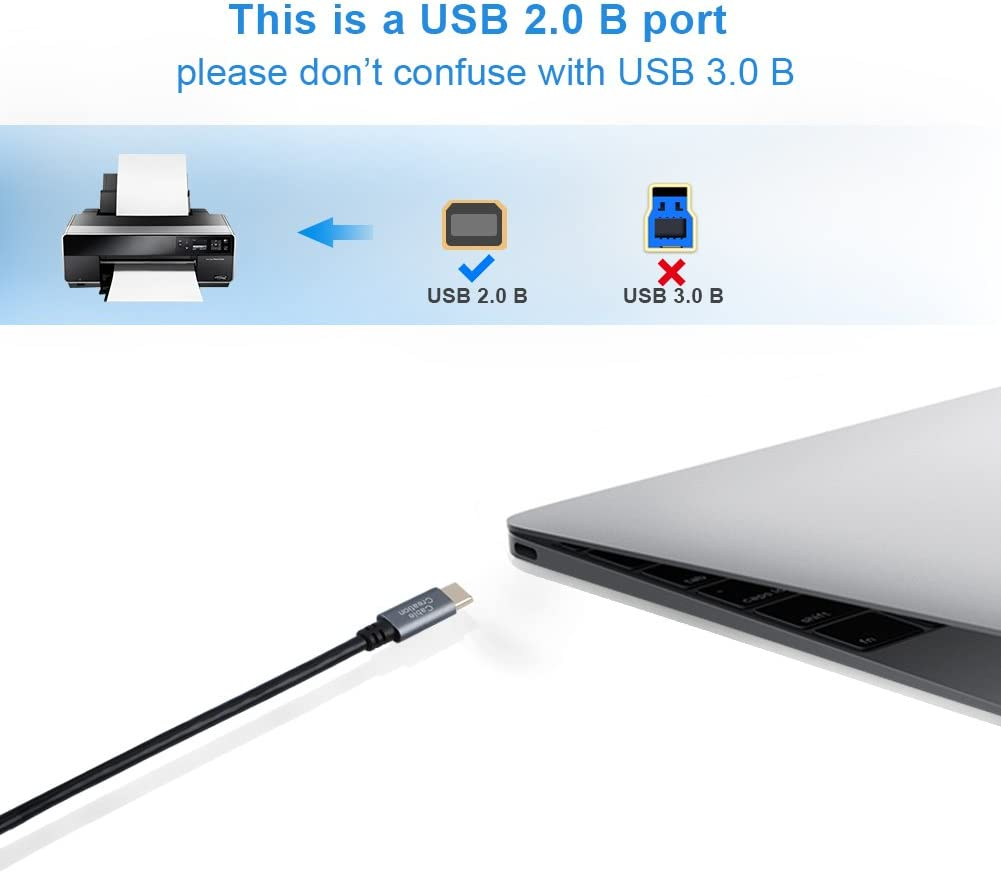 Type C Male to USB B Male Lead Samsung Chromebook Pro USB C to B Cable Google Chromebook Pixel USB C Phone Printer Cable for MacBook ASUS Zen Aio PC Etc,Alloy,2M