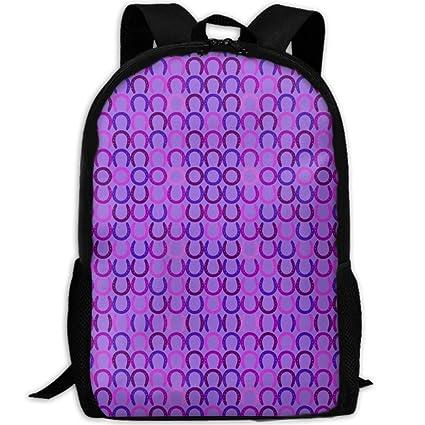 5bb81149ea Amazon.com  Stylish Laptop Backpack Horseshoes Purple Small Fabric ...