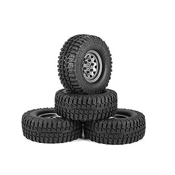 UniqueHeart 4Pcs Llantas de Goma DE 1.9 Pulgadas, 100 mm, neumático con llanta de