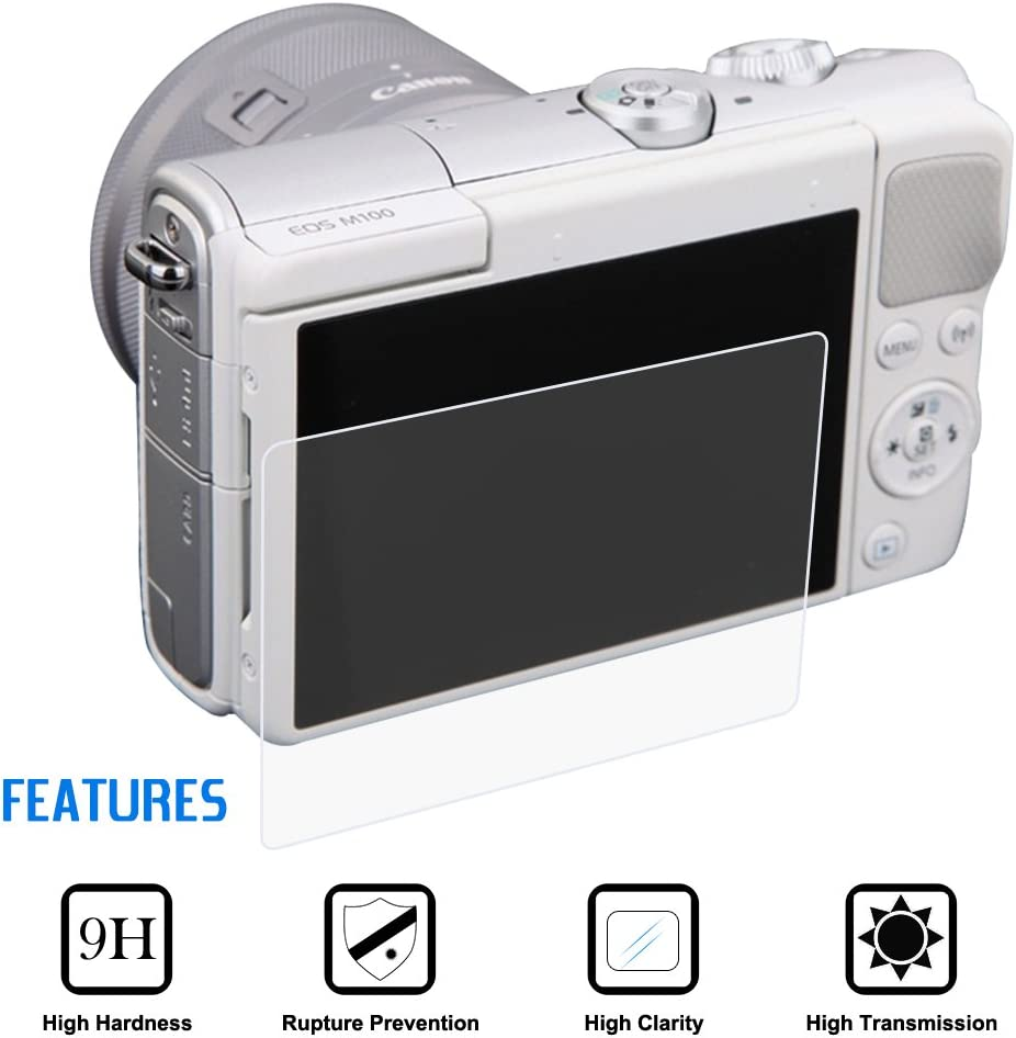 1 Packs Pel/ículas de Vidrio Temperado Anti-Rayas para DSLR C/ámara Digital Newmowa Protectores de Pantalla para Canon M6 M50 M100