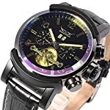 Zack Men Colorful Window Casual Auto Mechanical Fluorescent Watch black