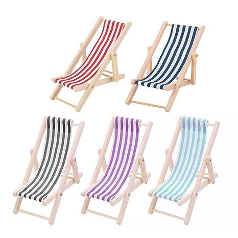 Sedie A Sdraio In Miniatura.Sharplace 5 Pezzi Miniature Sedie A Sdraio Poltrona A Strisce