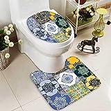 SOCOMIMI 2 Piece Toilet mat Set Multi Set Islamic Portuguese Tile Patterns in Various Tones Textures 2 Piece Shower Mat Set