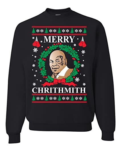 eaf4b62de102 Wild Bobby Merry Chrithmith Mike Tyson Ugly Christmas Sweater Unisex  Crewneck Sweatshirt