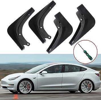 ROCCS Tesla Model 3 Carbon Fiber Mud Flaps Splash Guard Fenders Set Front Rear Wheel Mudguards with Screws and Screwdriver