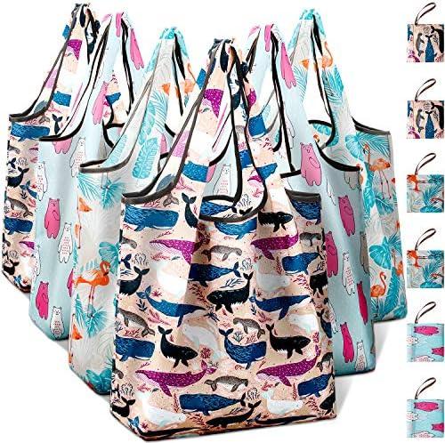 Reusable Shopping Foldable Groceries Flamingo