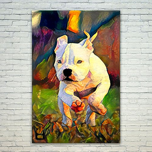 Westlake Art - Poster Print Wall Art - Dogs Pitbull Puppy - Modern Abstract Artwork Home Decor Office Birthday Gift - Unframed - 12x18in (od9 33f 3d1) (Pit Bull Red Puppies Nose)