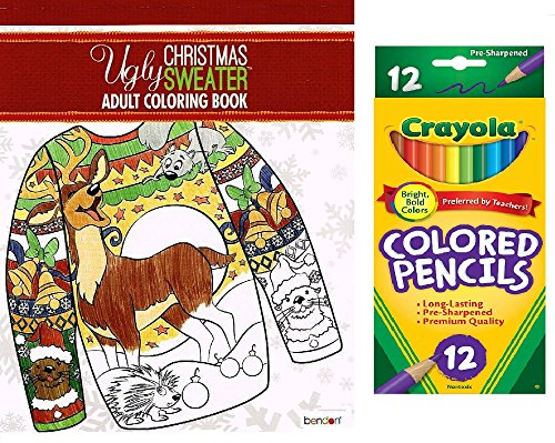 Ugly Christmas Sweater Adult Coloring Book and Colored Pencils Gift Set -