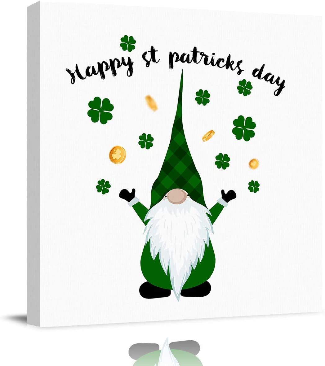 Amazon Com Canvas Print Wall Art Painting Decor 28 X 28 Green Gnomes Irish Decor Lucky Shamrock And Coins Modern Home Decorations Giclee Artwork Hd Picture Strenched And Framed Artwork Posters Prints