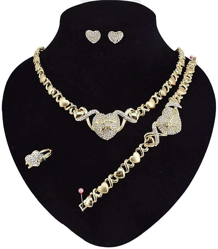 Giffor 003 Jewelries Gifts Womens Bracelet 14K Gold XOXO Jewelry Sets for Women Necklaces Earrings