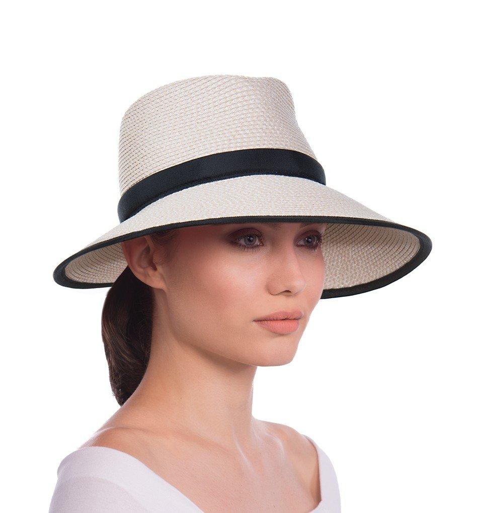 Eric Javits Luxury Fashion Designer Women's Headwear Hat - Sun Crest - Cream/Black