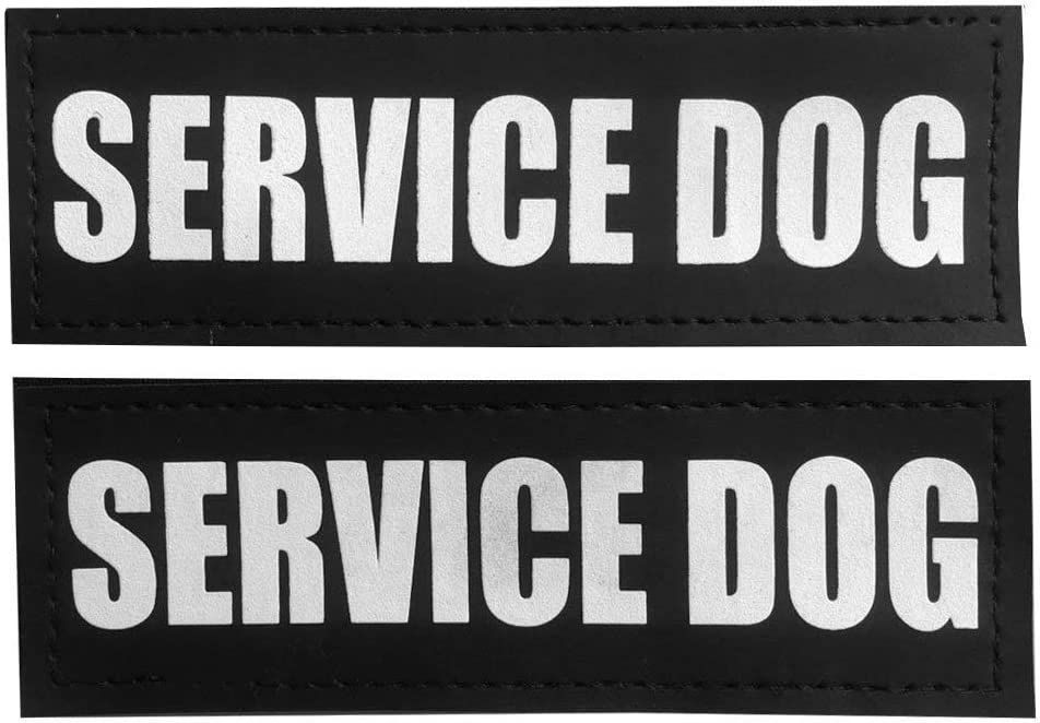 DO NOT PET, 4x1 inch JUJUPUPS Black Reflective Dog Patches 2 Pack Service Dog ,In Training, DO NOT PET Tags with Hook and Loop Patches for Vests and Harnesses