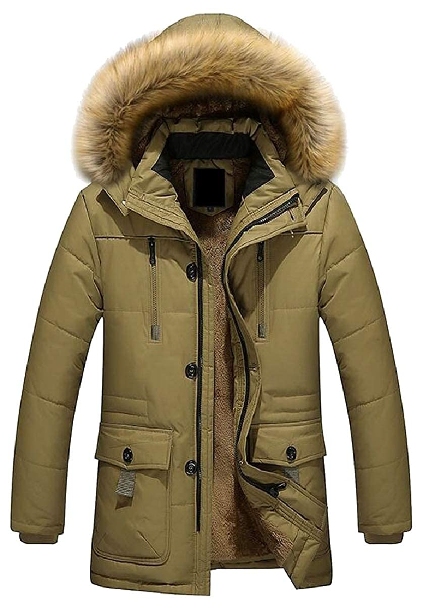CBTLVSN Mens Winter Warm Faux Fur Hoodie Quilted Padded Down Jacket