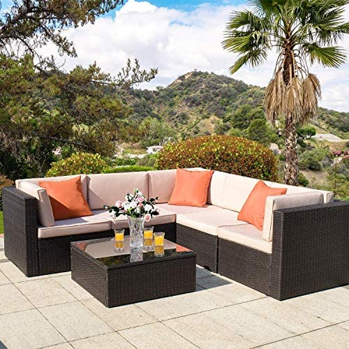 Homall 6 Piece Patio Furniture Sets Outdoor Sectional Sofa, All Weather PE Rattan Patio Conversation Set Manual Wicker Couch with Glass Table and Cushions Orange
