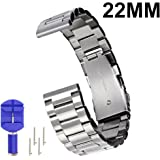 N.ORANIE 22mm Width Watch Band Stainless Steel Adjustable Strap with Arc Metal Buckle for Moto 360 2nd Gen(Men's 46mm) Samsung Gear S3 Classic /Frontier, Pebble Time/Time Steel, LG G Watch/LG G Watch R/LG Watch Urbane, ASUS Zenwatch and HUAWEI Watch 2 Classic(3 Pointers Style-Silver)