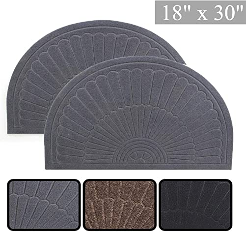 E-view Half Round Door Mat Mud Dirt Trapper Shoe Scraper Mat Entry Mat Rugs for Front Door Low Profile Indoor Washable