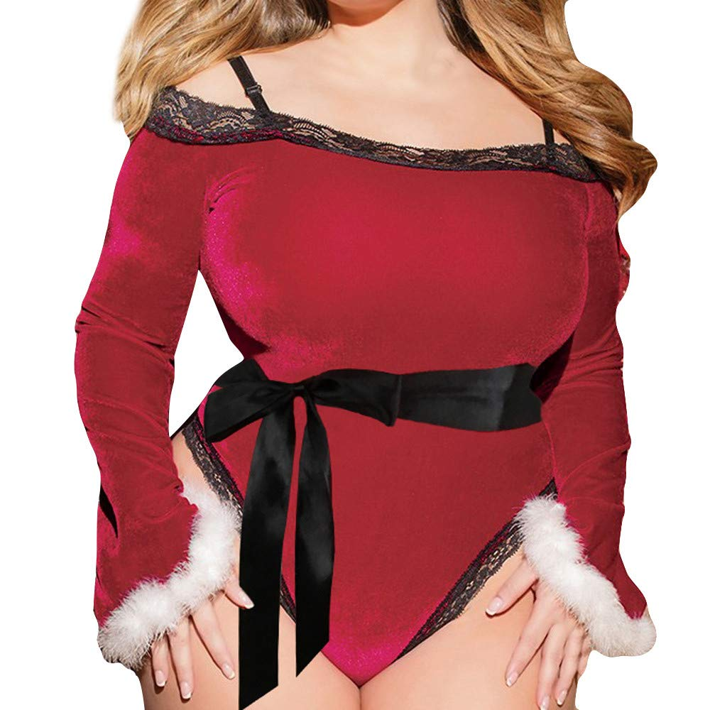 Women Christmas Underwear Large Size One-Piece Pajamas Underwear Sexy Long-Sleeved Underwear Jumpsuit