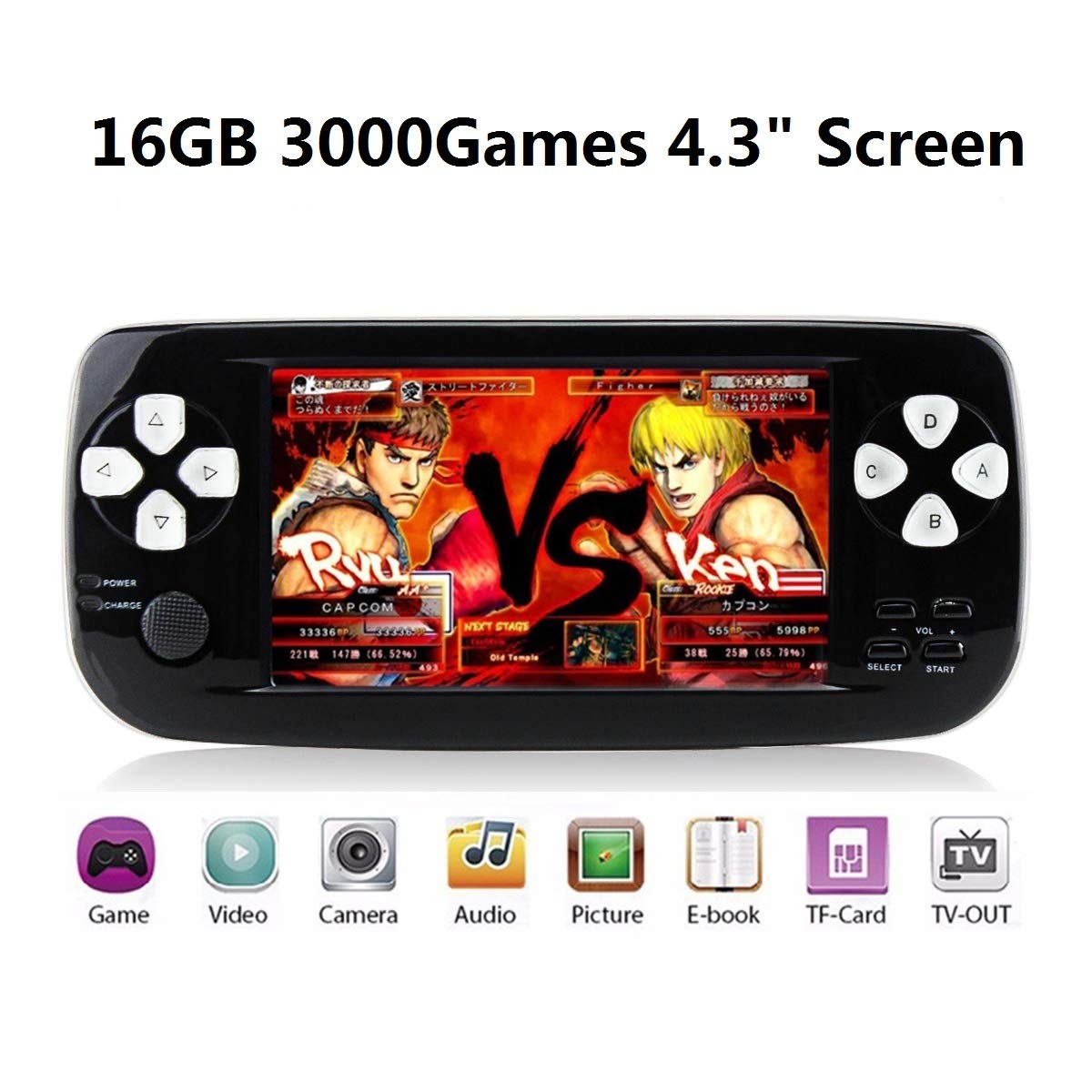 Anbernic Handheld Game Console, 16GB 3000 Retro Classic Game Console Pap-KIII , Portable Video Game Console Support GBA / NES / SFC / Sega / NEOGEO , Birthday Gift Children - Black