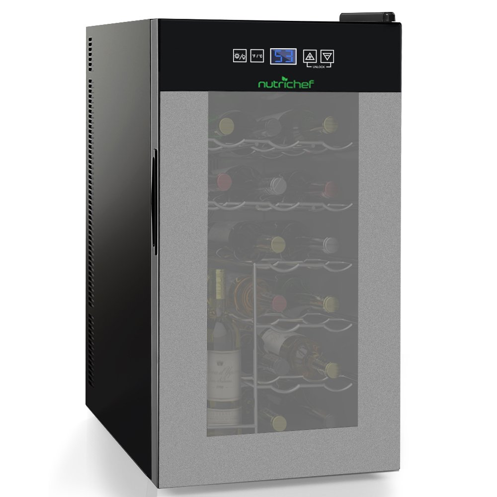 Nutrichef 18 Bottle Thermoelectric Wine Cooler Refrigerator | Red, White, Champagne Chiller | Counter Top Wine Cellar | Quiet Operation Fridge | Touch Temperature Control