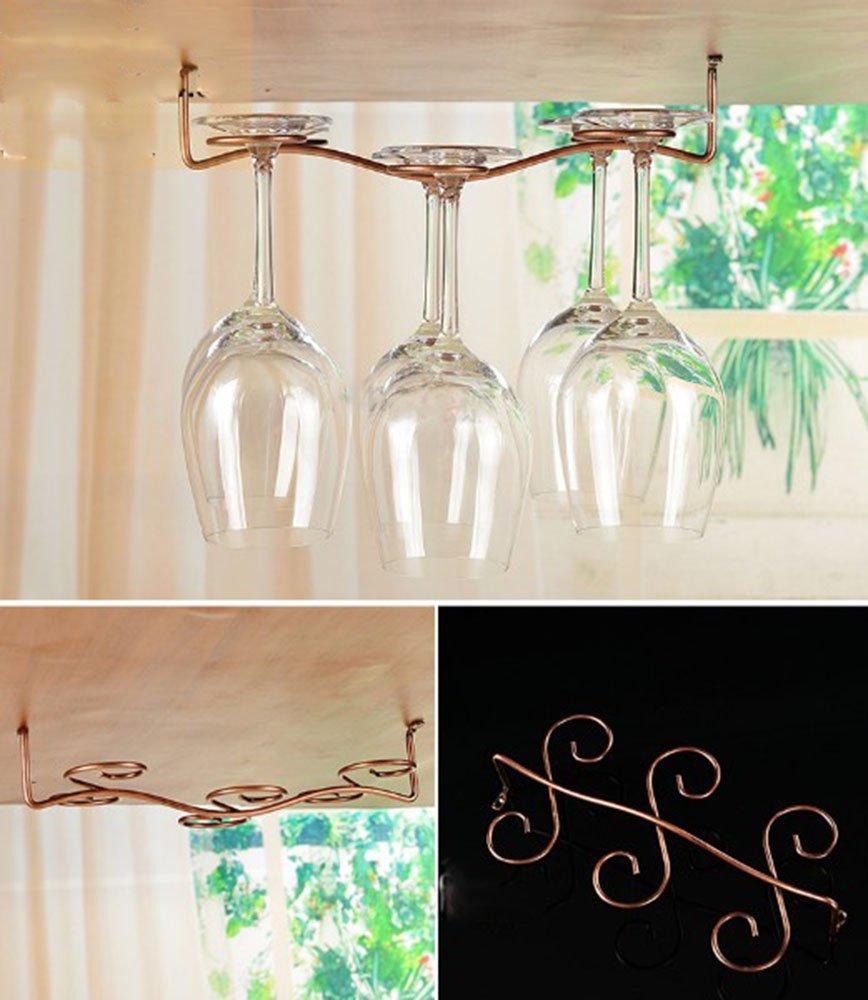 Awerise Vintage Style 6 glass under cabinet wine glass rack, hanging wine glass rack, stemware rack