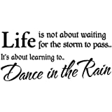 Life Isn't About Waiting For The Storm To Pass It's About Learning To Dance In The Rain Removable Wall Decal Sticker Quote Vinyl Art Home Decor