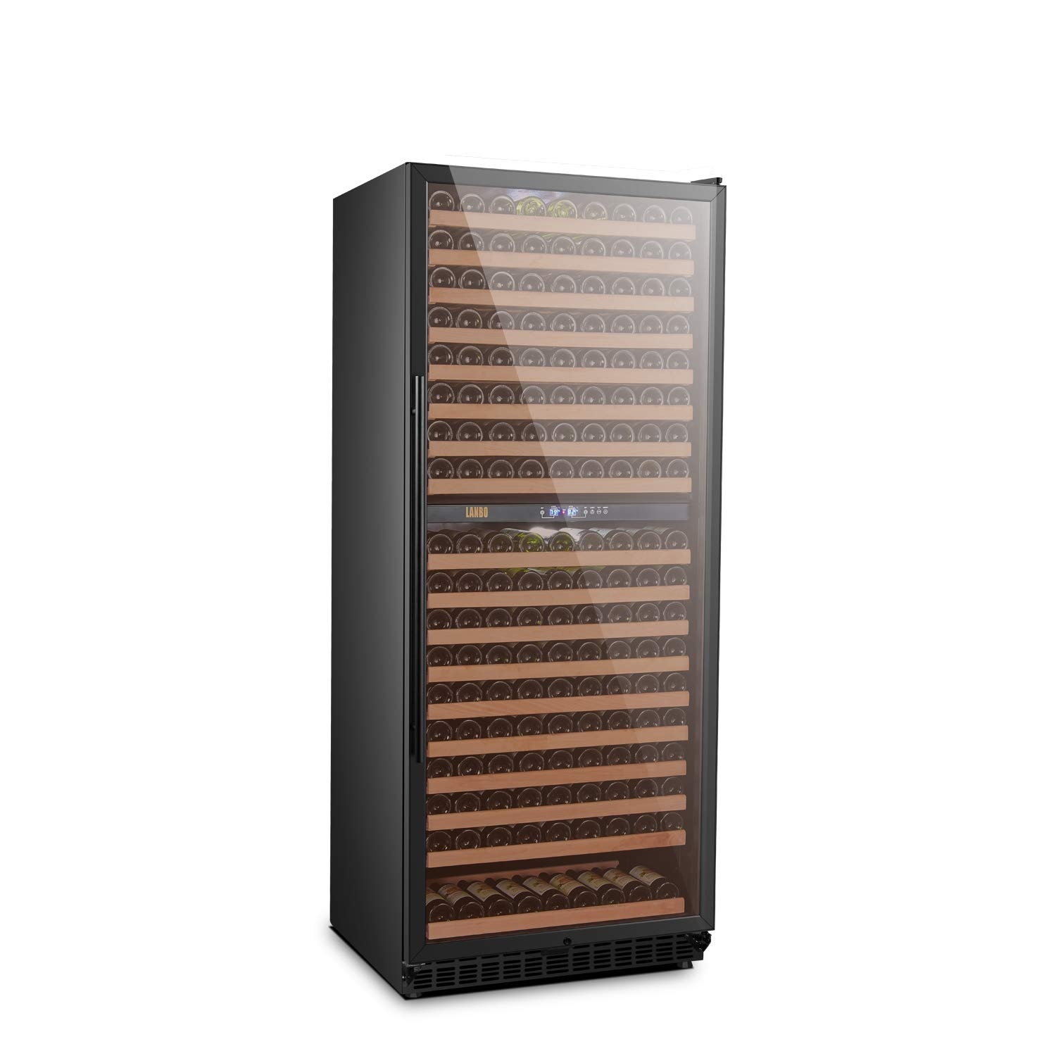 LANBO Red Wine Cooler, 306 Bottle Dual Zone Compressor Wine Fridge with Digital Touch Control and Security Lock, Built-in or Freestanding