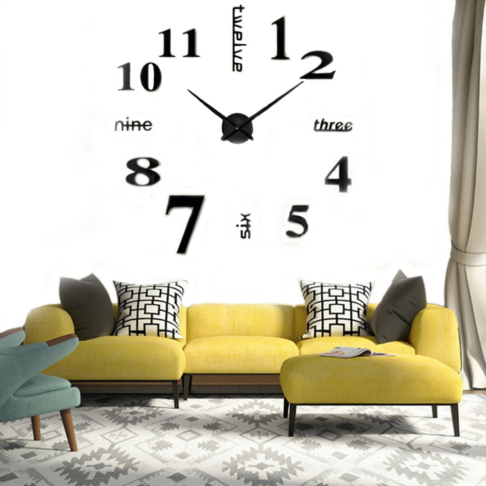 CUGBO DIY Wall Clock Modern Large 3D Wall Clock Mirror Stickers Home Office Decor,Black